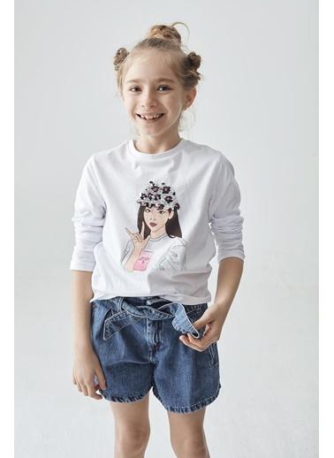 Tyess Kız Çocuk Beyaz T-Shirt Beyaz